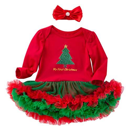 Bambino Ragazze Costume di Natale Pagliaccetto Tutu con Fascia Pigiama in Cotone Outfits Albero 6-12 Mesi