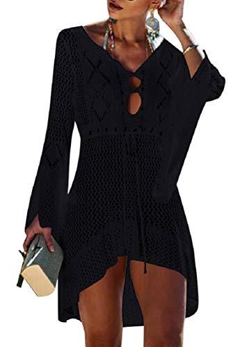 Tuopuda Bikini Cover Up Crochet Damen Strandkleid aushöhlen Stricken Swimsuit Sommerkleid mit V-Ausschnitt Strandrock Bell Sleeve Strandponcho Sommer Beachwear Bademode Strand Badeanzug - Strand Badeanzug