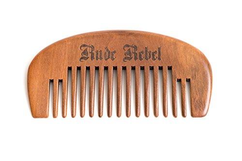 Premium Bartkamm Herren Echtholz grob Walnussholz klein antistatisch doppelseitig lange Haare Man Männer Style Taschenkamm Kamm trimmen Bartpflege Grooming Holz