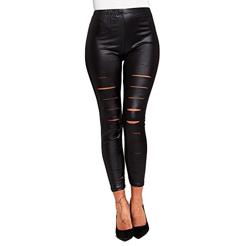 SCO New Womens Extreme Ripped Wet Look Leggings Sexy Faux Leather Jeggings (One Size)