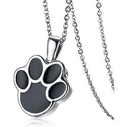 Vnox Acero inoxidable Pet Dog Cat Pata Cremación urna Ceniza recuerdo conmemorativo collar colgante,cadena libre