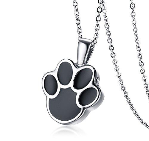 VNOX Edelstahl Haustier Hund Katze Pfote Feuerbestattung Urne Asche Andenken Memorial Anhänger Halskette,freie Kette