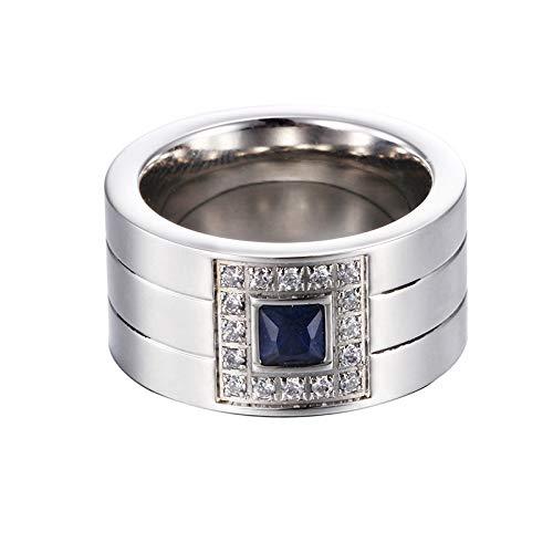 GMZWW Ring AAA Zirkon Kristall Ringe Für Frauen Männer Trendy Stack Ring Schmuck Weiblichen Fingerring Titan Stahl Dieser Ring Glänzt Mit Schönheit Und Fügt EIN Luxuriöses Bild blau 7 -