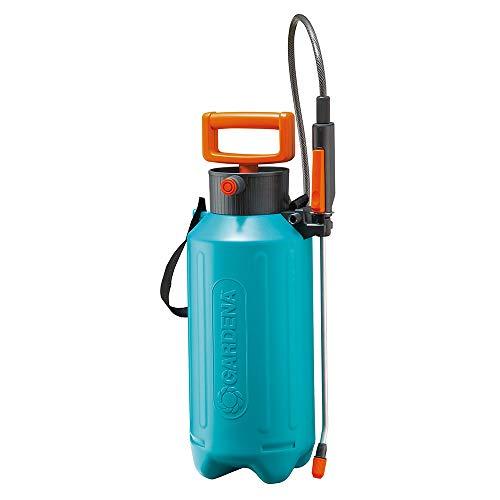 Gardena Drucksprüher 5 l: Drucksprühgerät mit Füllstandsanzeige, Speziallanzengriff, langem Schlauch, Schultertragegurt und Überdruckventil (822-20)