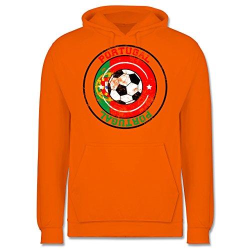 EM 2016 - Frankreich - Portugal Kreis & Fußball Vintage - Männer Premium Kapuzenpullover / Hoodie Orange
