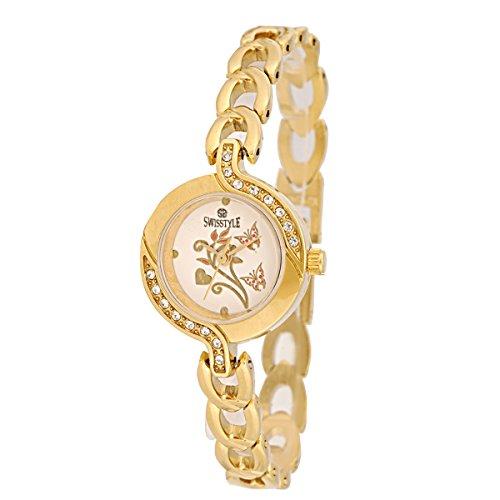 Swisstyle Analogue Gold Dial Women\'s Watch - SS-LR1403-WHT-GCH