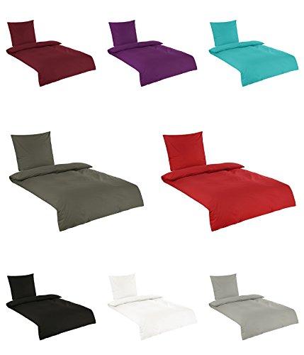 Baumwolle Renforce Uni Bettwäsche in vielen Farben 155x220 cm 80x80 cm Lila
