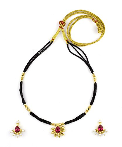 Womens Trendz Fancy Saaj Ghat Manchali24K Gold Plated Alloy Mangalsutra and Earring Set  available at amazon for Rs.590
