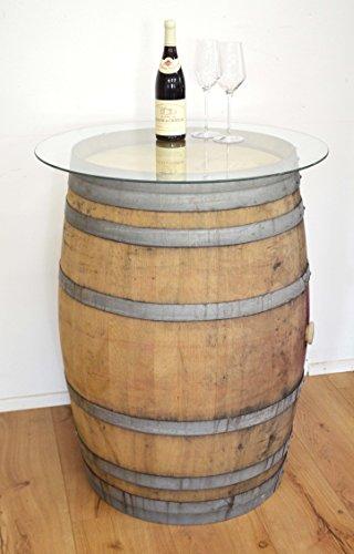 Tonneau de vin en fût de chêne affillé avec plateau en verre (non traitée)