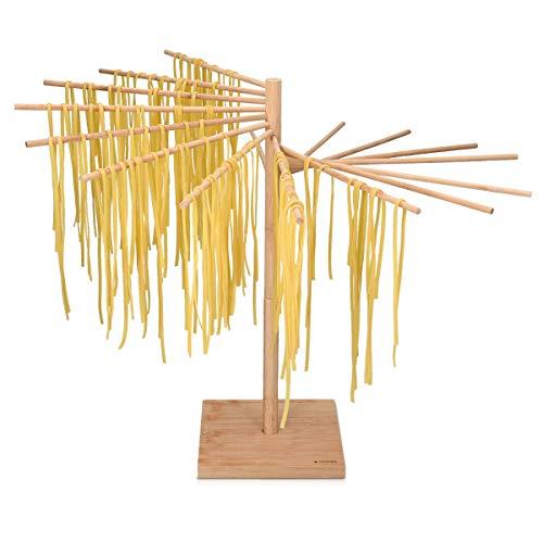 Navaris Nudeltrockner Nudel Ständer Bambus - Pasta Trockner zum Nudeln aufhängen - Pastatrockner Nudelbaum 16 Trockenstäbe - Holz Trockenständer