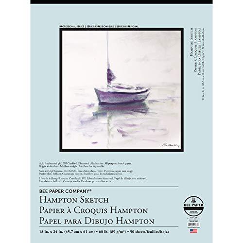 Bee Paper Company Hampton Skizzenrolle Bienenpapier 18-inch x 24-inch, 50 Sheet Tape Bound Pad -