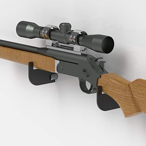 Plexico Gewehrhalter / Musketen-Halterung, Gewehr-Wandhalterung/Präsentationsständer, Acryl, transparent, Schwarz