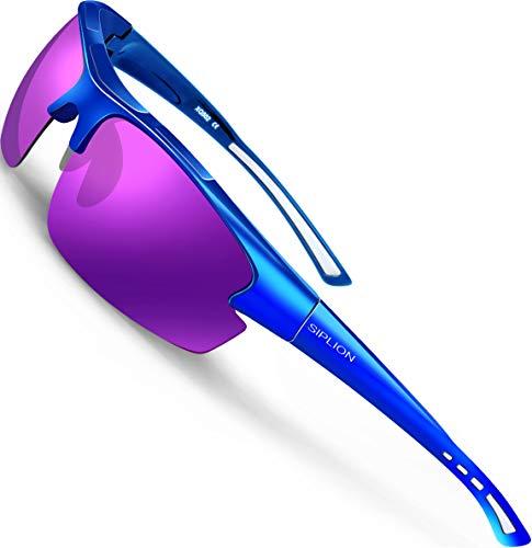 SIPLION Herren Sonnenbrille UV400 Schutz Polarisiert Superleichtes Rahmen 502 Blue+purple