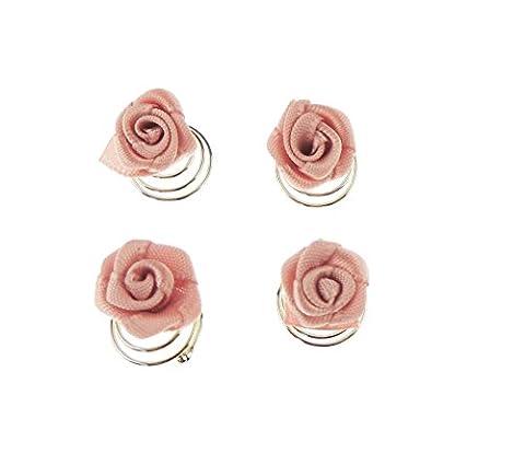 Filles Mesdames Satin Pretty Lot de 4mini Rosette Rose Mariage Demoiselle d'Honneur bobines épingles cheveux rose