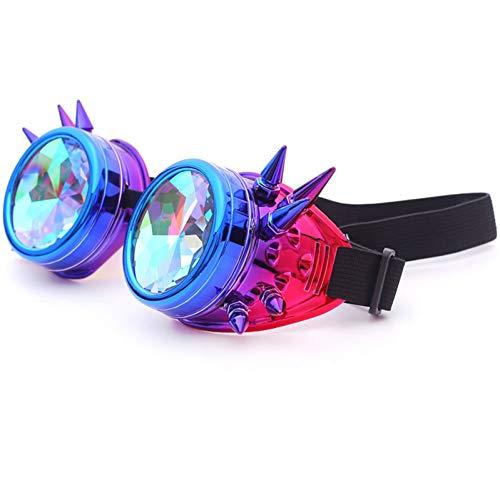 YLNJYJ Sonnenbrillen Kaleidoskop Brille Männer Steampunk Goggles Sonnenbrille Frauen Gothic Holographic Rave Festival Frauen Cosplay Party Brille