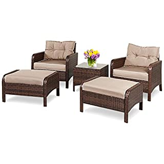 COSTWAY 5 TLG. Gartenmöbel Rattanmöbel Polyrattan Sitzgruppe Lounge Sofa Sitzgarnitur inkl. Kissen, Gartenset Braun, Balkonset aus 2 Sessel, 2 Hocker, Beistelltisch
