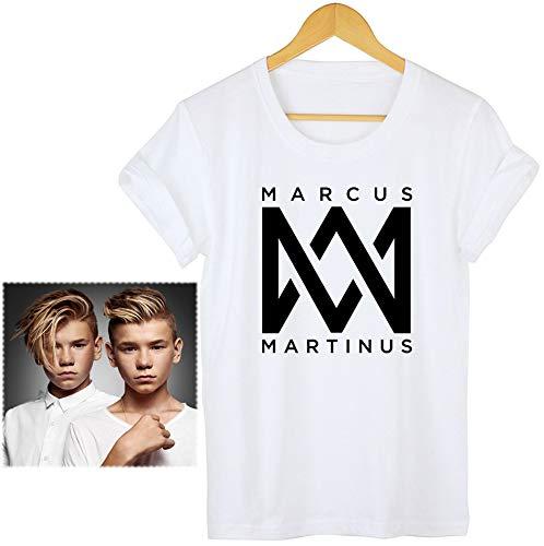 Marcus & Martinus T-Shirt Jahrgang Brillenputztuch Konzert Klassisch Personalisiert Original Objektivtuch Spiel Tee Sänger Drucken Sommerkleid/Weiß/S -