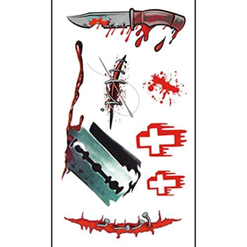 XINAINI Halloween Narben Tattoo Wunde TemporäRe- Realistisch Zombie Vampir Schminke Scars, Wasserdicht SchweißFest,GefäLschter Scab Blut Kratzer Aufkleber FüR KostüM Makeup Und Cosplay