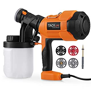 Paint Sprayer, Tacklife SGP15AC 400W 900ml Patent Electric Spray Gun, 800 ml/min, with 4 Nuzzels for Home Appliance Parts, Wooden Products