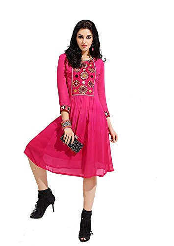 Kurti ( BMR Women's Pink Georgette Stitched Embroidered Kurta Kurti )(Size XL)  available at amazon for Rs.399