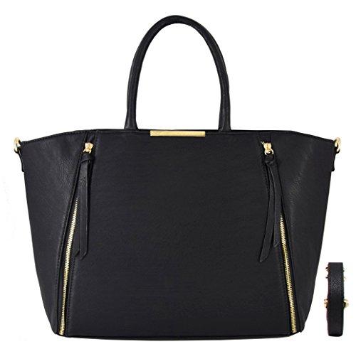 CRAZYCHIC - Damen Handtasche mit Gold Reißverschluss - Leder Imitat Henkeltasche - Große Tasche für Arbeit Schule Laptop Studenten - Mode Aktentasche Schultasche - Large Tote Shopper - Schwarz (Tote Gold-große)