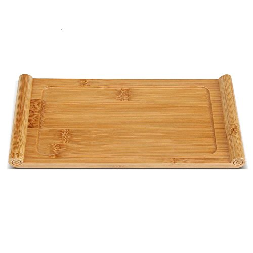 Teetablett,Asixx Chinesischen Kungfu Tee Tablett aus Bambus mit Glatter Oberfläche für Snack, Kaffee, Dessert, 26,5 x 12,9 x 1,8 cm