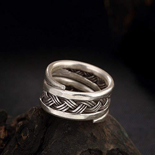 Daeou Ringe für Damen S925 Sterling Silber Thailändisches Zeichen  übertriebenen hohlen Webart Twist Ring ce6bf00f8c