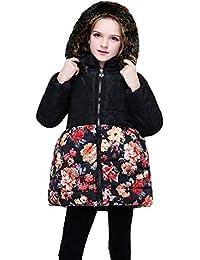 HUIHUI Kinder Baby Kleidung, Herbst Winter Warme Outwear Mantel warm Winddicht Jacken Mädchen Blumendruck Hooded Coat mit Tasche 2-8 Jahre