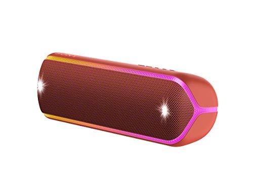 Sony SRS-XB32 Bluetooth Lautsprecher (tragbar, kabellos, NFC, farbige Lichtleiste, Extra Bass, Stroboskoplicht, wasserabweisend) rot