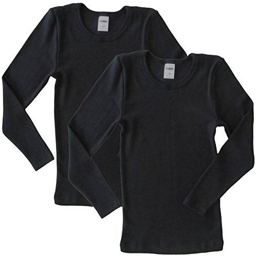 HERMKO 62830 2er Pack Kinder langarm Funktionsunterhemd, Farbe:schwarz, Größe:128