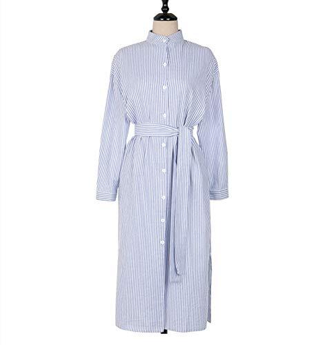 Blau Kostüm Kleid Gestreiftes - CHZDLYQ Kleid Neue Frauen Kleider Frühling Herbst Büro Damen Elegante Damen Casual Gestreiften Dress Lace Up Single Behandelt L Blau