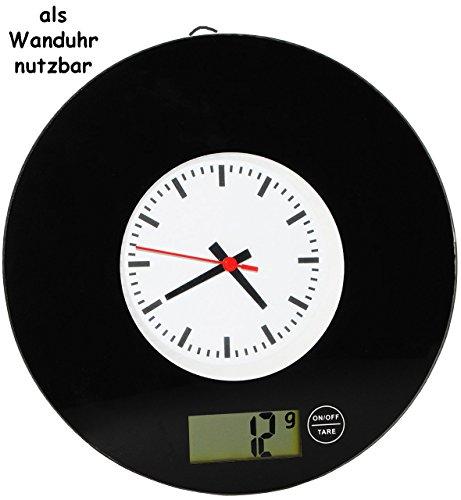 2 in 1: Küchenwaage & Küchenuhr -' schwarz / Retro Design' - Digitalwaage - 5 kg - Uhr analog - LCD Anzeige Digital - Glaswaage / Glas - auch als Wanduhr - elektronische Waage - Küchen Deko / Standwaage Hartglas - rund / Schallplatte - 50er 70er Jahre Vintage
