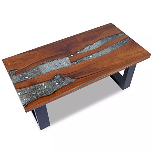 luckyfu Modernes Design Möbel Tische Accent Kaffee Tischen mit Farbe: Mehrfarbig Long Schreibtisch Oder Tisch Couchtisch Resin Teak 100x 50cm (Glas-wohnzimmer-akzent-tabelle)