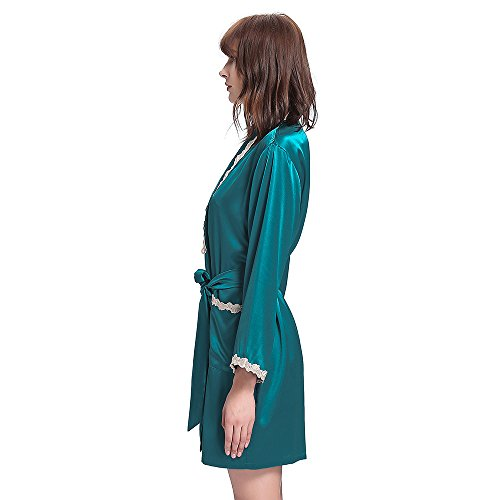 LILYSILK Robe De Chambre Soie Femme Détail Dentelle Kimono Peignoir Vêtement De Nuit 100% Soie Bleu Marine Bleu Royal