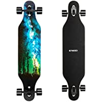 ENKEEO Longboard 9 Strati di Acero Flessibile Skateboard Drop Through 104cm Cuscinetti ABEC-11 per Carving Downhill Cruising Freestyle Riding, Stella