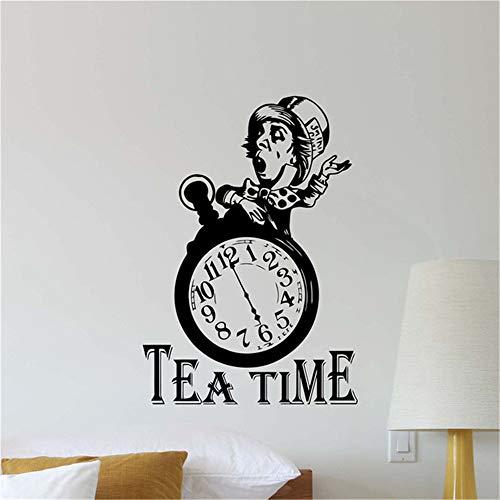 alicefen Tee Zeit Mad Hut Wandtattoo Alice im Wunderland Vinyl Aufkleber Poster Künstler Wohnkultur Abnehmbare Wohnzimmer Wandaufkleber 82 * 58 cm -