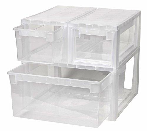 3 Stück Schubladenboxen mit Nutzvolumen 2 Stück mit 7 (S) und 1 Stück mit 23 (L) Liter. Passend für z.B. Socken, Krawatten, Shirts, Papier, Schreibwaren, etc.