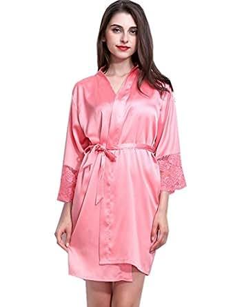BELLOO Ladies Silk Satin Kimono Dressing Gown Robe Lace-trim: Amazon ...