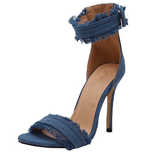 Oasap Women's Peep Toe Stiletto Heels Buckle Sandals with Tassel blue