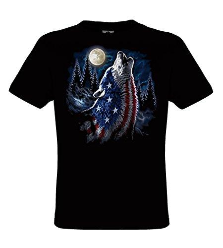 DarkArt-Designs American Flag Wolf - Wolf mit USA Flaggenmotiv T-Shirt für Kinder und Erwachsene - Tiermotiv Shirt Hunde Wildlife Fun Party&Freizeit Lifestyle regular fit Black