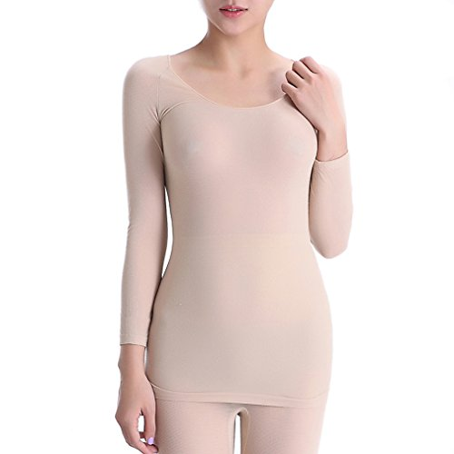 Comfortableinside da donna Ultra sottile alta elasticità morbido SEAMLESS biancheria intima termica in tinta unita Tops Skin Taglia unica