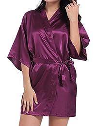 Bata de Kimono para Mujer, Elegante Satinado Seda Batas de Kimono Manga Larga Vestido de