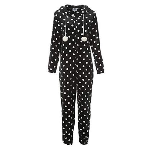 Barlingrock Damen und Mädchen Mode Druck Mit Kapuze Flanell Langarm Onesies Trainingsanzug, Niedlichen Mit Kapuze Wave Point Pyjamas Overall