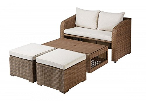 Loungeset 'Tada' bestehend aus Sofa Hocker Tisch inkl Polster - braun / natur - Balkonset...