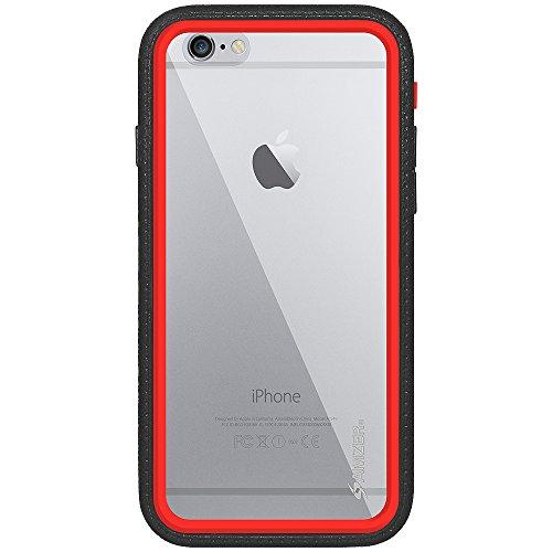 Amzer Crusta edge2edge Shell Housse Coque Étui robuste avec verre trempé et clip ceinture pour iPhone 6Or/Argent _ P Black, Red