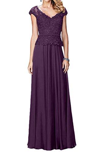 Milano Bride Damen Faszierend V-Ausschnitt Lang Abendkleider Festkleider Promkleider Spitzekleider Bodenlang Traube