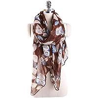 YsTmS Frauen-Nette Eulen-Druck-Schal-Mode-Entwurfs-Damen-Lange Verpackungs-Schal-Kleidungs-Zusätze