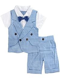 A&J Design Bebé Niño Gentilhombre Camisa a Cuadros y Pantalones Conjunto