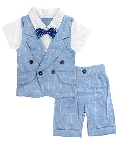 A&J Design Baby Jungen Gentleman Kariertes Hemd und Hose Set 2 Stücke (Blau, 3-4 Jahre (Herstellergröße 110)) -