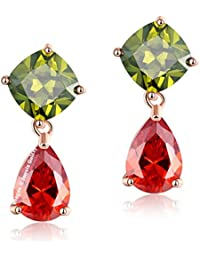 Jewels Galaxy Crystal Elements Luxuria Sparkling Multicolor 18K Rose Gold Plated Drop Earrings For Women/Girls
